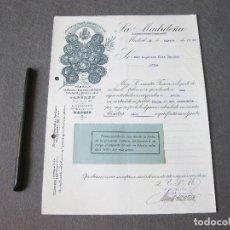 Cartas comerciales: FACTURA DE LA MADRILEÑA. FÁBRICA DE BUJÍAS EN BLANCO Y COLOR, ESTEARINA, CIRIOS. MADRID 1931. Lote 262156235