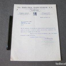 Cartas comerciales: CARTA COMERCIAL DE LA ELÉCTRICA INDUSTRIAL. ANTIGUA CASA GIBERT Y BOIRE. TARRASA 1932. Lote 262160055