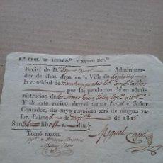 Cartas comerciales: RECIVI DERECHOS DE AGUARDIENTE 5 DIC 1815 (436-3). Lote 262238590