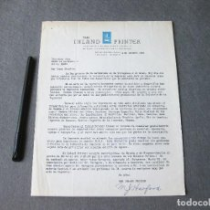 Cartas comerciales: CARTA COMERCIAL DE INLAND PRINTER. CHICAGO 1933. Lote 262944145