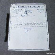 Cartas comerciales: CARTA COMERCIAL DE INDUSTRIAS EIBARRESAS. EIBAR 1933. ESCOPETAS DE CAZA, GRAMÓFONOS, ETC. Lote 262944540