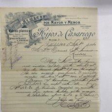 Cartas comerciales: CARTA COMERCIAL. HIJOS DE CASARIEGO. ALMACEN POR MAYOR Y MENOR. VIDRIOS. VALLADOLID, 1910. Lote 263555340
