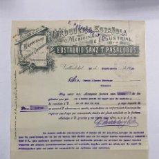 Cartas comerciales: CARTA COMERCIAL.EUSTAQUIO SANZ T. PASALODOS.DROGUERIA MEDICINAL E INDUSTRIAL.VALLADOLID,1910. Lote 263555465