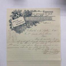 Cartas comerciales: CARTA COMERCIAL. HIJOS DE A. MATAIX. FABRICAS DE ARTICULOS DE VIAJE. VALLADOLID, 1905. Lote 263556460