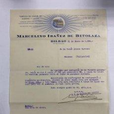 Cartas comerciales: CARTA COMERCIAL. MARCELINO IBAÑEZ DE BETOLAZA. FABRICA DE CAMAS DE HIERRO Y LATON.BILBAO,1930. Lote 263558850