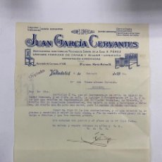 Cartas comerciales: CARTA COMERCIAL. JUAN GARCÍA CERVANTES. AGENTE COMERCIAL. VALLADOLID, 1930. Lote 263559020