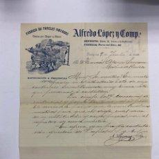 Cartas comerciales: CARTA COMERCIAL. ALFREDO LOPEZ Y CIA. FABRICA DE PAPELES PINTADOS. ZARAGOZA, 1914. Lote 277715058