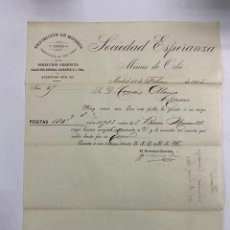 Cartas comerciales: CARTA COMERCIAL. SOCIEDAD ESPERANZA. EXPOSICION DE MINERIA. MADRID, 1905. Lote 263565360