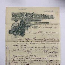 Cartas comerciales: CARTA COMERCIAL. ELORZA E HIJO. FABRICANTES DE HERRAMIENTAS. OÑATE - GUIPUZCOA, 1913. Lote 263619575