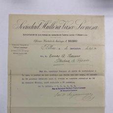 Cartas comerciales: CARTA COMERCIAL. SOCIEDAD HULLERA VASCO-LEONESA. EXPLOTACION MINAS DE CARBON. BILBAO,1914. Lote 263619945