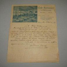 Lettere commerciali: ANTIGUA CARTA DEL CAFÉ RESTAURANT LA DEMOCRACIA DE VALENCIA DEL AÑO 1918. Lote 263714440