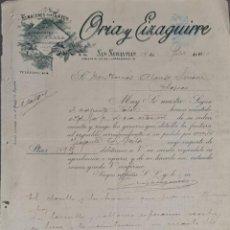 Cartas comerciais: ORIA Y EIZAGUIRRE. ALMACENES POR MAYOR. SAN SEBASTIÁN. ESPAÑA 1910. ADJUNTA FACTURA. Lote 265163289
