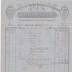 Cartas comerciales: COMERCIO DE GÉNEROS NACIONALES POLICARDO RUIZ. JACOMETREZO. MADRID FIRMA PROPIETARIO.. Lote 265164664