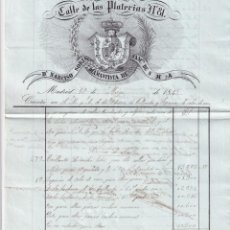 Cartas comerciales: CALLE DE LAS PLATERIAS. DON NARCISO SORIA DIAMANTISTA DE SUS MAJESTADES. MADRID FIRMA PROPIETARIO.. Lote 265219189