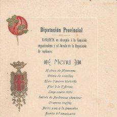 Cartas comerciales: 1902 - MENU BANQUETE DIPUTACION PROVINCIAL DE BARCELONA -EXPOSICIÓN DE CARBONES --EXCELENTE---. Lote 266904574