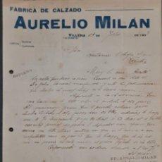 Cartas comerciais: AURELIO MILÁN. FÁBRICA DE CALZADO. VILLENA. ALICANTE. ESPAÑA 1921. Lote 267877114