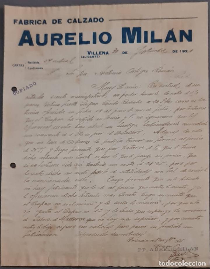 AURELIO MILÁN. FÁBRICA DE CALZADO. VILLENA. ALICANTE. ESPAÑA 1921 (Coleccionismo - Documentos - Cartas Comerciales)