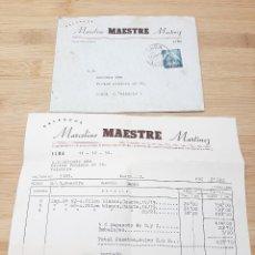 Cartas comerciales: CARTA COMERCIAL FACTURA, FABRICA DE CALZADO MARCELINO MAESTRE MARTINEZ ( ELCHE ) AÑOS 50.. Lote 269000989