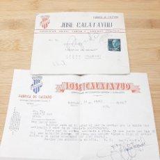 Cartas comerciales: CARTA COMERCIAL FACTURA, FABRICA DE CALZADO JOSE CALATAYUD BURJASOT ( VALENCIA ) AÑOS 50.. Lote 269004764