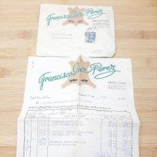 Cartas comerciales: CARTA COMERCIAL FACTURA, FABRICA DE CALZADO FRANCISCO SAEZ PEREZ ( VALENCIA ) AÑOS 50.. Lote 269005424
