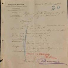 Cartas comerciales: BANQUE DE BORDEAUX. ANCIENNE MAISON SOULA, DE TRINCAUD LA TOUR & CÍE. BORDEAUX. FRANCIA 1900. Lote 269165278