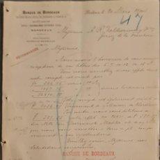 Cartas comerciales: BANQUE DE BORDEAUX. ANCIENNE MAISON SOULA, DE TRINCAUD LA TOUR & CÍE. BORDEAUX. FRANCIA 1900. Lote 269165363