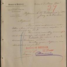 Cartas comerciales: BANQUE DE BORDEAUX. ANCIENNE MAISON SOULA, DE TRINCAUD LA TOUR & CÍE. BORDEAUX. FRANCIA 1900. Lote 269165448