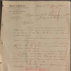 Cartas comerciales: BANQUE DE BORDEAUX. ANCIENNE MAISON SOULA, DE TRINCAUD LA TOUR & CÍE. BORDEAUX. FRANCIA 1900. Lote 269165533
