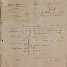 Cartas comerciales: BANQUE DE BORDEAUX. ANCIENNE MAISON SOULA, DE TRINCAUD LA TOUR & CÍE. BORDEAUX. FRANCIA 1900. Lote 269165698