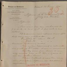 Cartas comerciales: BANQUE DE BORDEAUX. ANCIENNE MAISON SOULA, DE TRINCAUD LA TOUR & CÍE. BORDEAUX. FRANCIA 1900. Lote 269165868