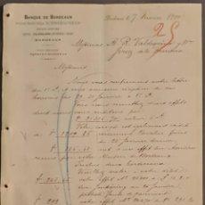 Cartas comerciales: BANQUE DE BORDEAUX. ANCIENNE MAISON SOULA, DE TRINCAUD LA TOUR & CÍE. BORDEAUX. FRANCIA 1900. Lote 269165998
