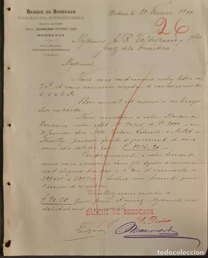 BANQUE DE BORDEAUX. ANCIENNE MAISON SOULA, DE TRINCAUD LA TOUR & CÍE. BORDEAUX. FRANCIA 1900 (Coleccionismo - Documentos - Cartas Comerciales)