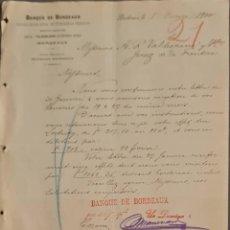 Cartas comerciales: BANQUE DE BORDEAUX. ANCIENNE MAISON SOULA, DE TRINCAUD LA TOUR & CÍE. BORDEAUX. FRANCIA 1900. Lote 269166133