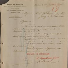 Cartas comerciales: BANQUE DE BORDEAUX. ANCIENNE MAISON SOULA, DE TRINCAUD LA TOUR & CÍE. BORDEAUX. FRANCIA 1900. Lote 269166218
