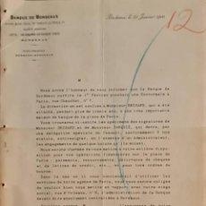 Cartas comerciales: BANQUE DE BORDEAUX. ANCIENNE MAISON SOULA, DE TRINCAUD LA TOUR & CÍE. BORDEAUX. FRANCIA 1900. Lote 269166318