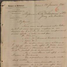 Cartas comerciales: BANQUE DE BORDEAUX. ANCIENNE MAISON SOULA, DE TRINCAUD LA TOUR & CÍE. BORDEAUX. FRANCIA 1900. Lote 269166438