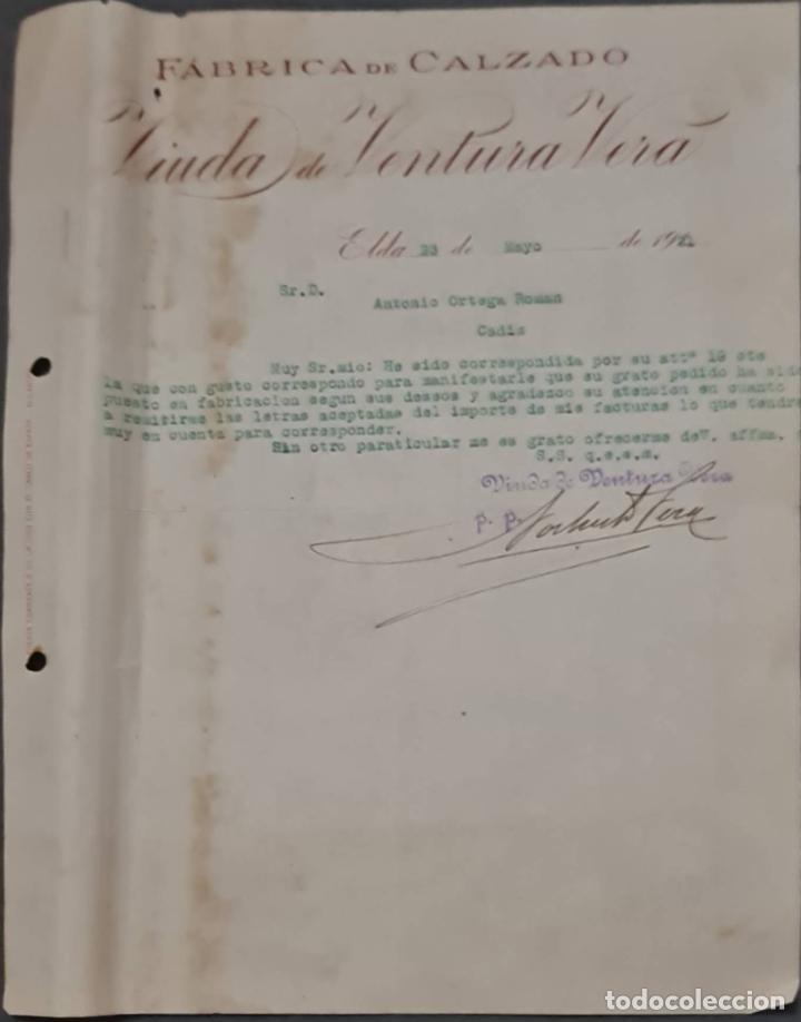 VIUDA DE VENTURA VERA. FÁBRICA DE CALZADO. ELDA. ESPAÑA 1921 (Coleccionismo - Documentos - Cartas Comerciales)