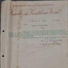 Cartas comerciales: VIUDA DE VENTURA VERA. FÁBRICA DE CALZADO. ELDA. ESPAÑA 1921. Lote 269167168