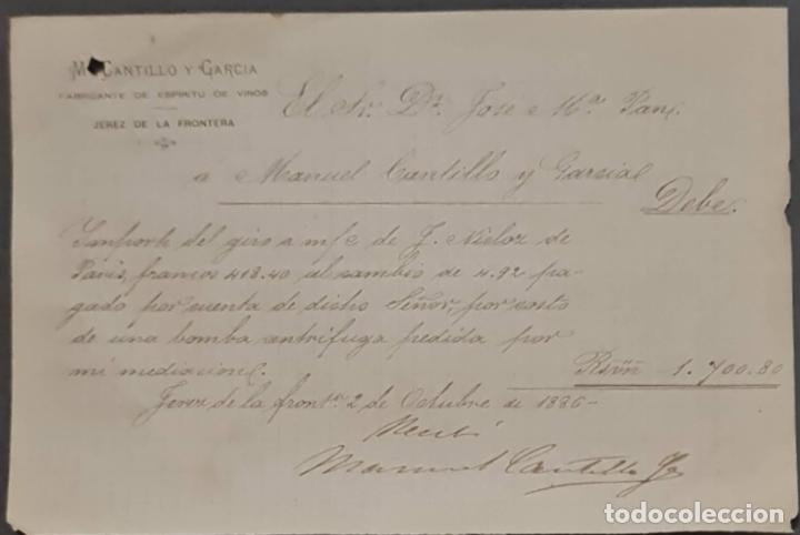 M. CANTILLO Y GARCÍA. FABRICANTE DE ESPÍRITU DE VINOS. JEREZ. ESPAÑA 1886 (Coleccionismo - Documentos - Cartas Comerciales)