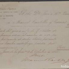 Cartas comerciales: M. CANTILLO Y GARCÍA. FABRICANTE DE ESPÍRITU DE VINOS. JEREZ. ESPAÑA 1886. Lote 269167213