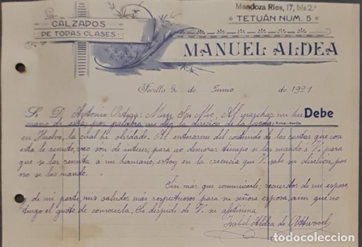 MANUEL ALDEA. CALZADOS DE TODAS CLASES. SEVILLA. ESPAÑA 1921 (Coleccionismo - Documentos - Cartas Comerciales)
