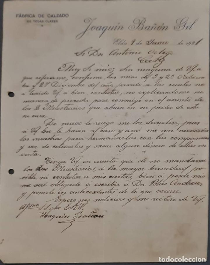 JOAQUIN BAÑÓN GIL. FÁBRICA DE CALZADO. ELDA. ESPAÑA 1921 (Coleccionismo - Documentos - Cartas Comerciales)
