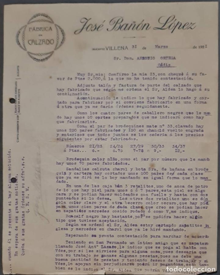 JOSÉ BAÑÓN LÓPEZ. FÁBRICA DE CALZADO. VILLENA. ALICANTE. ESPAÑA 1921 (Coleccionismo - Documentos - Cartas Comerciales)