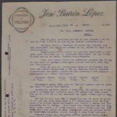 Cartas comerciales: JOSÉ BAÑÓN LÓPEZ. FÁBRICA DE CALZADO. VILLENA. ALICANTE. ESPAÑA 1921. Lote 269167428