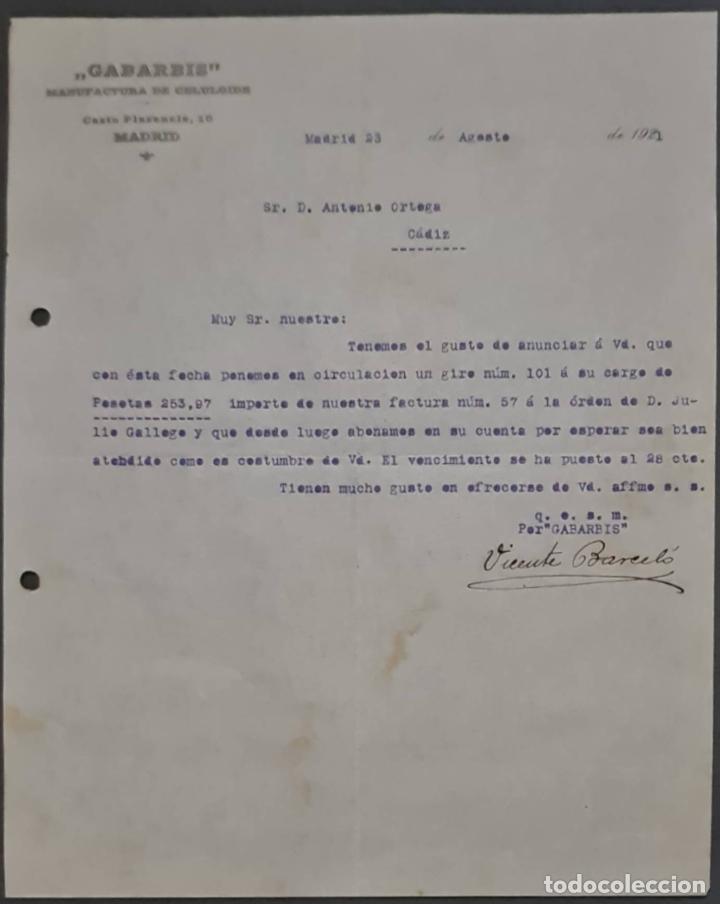 GABARBIS. MANUFACTURA DE CELULOIDE. MADRID. ESPAÑA 1921 (Coleccionismo - Documentos - Cartas Comerciales)