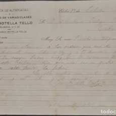 Cartas comerciales: JOSÉ BOTELLA TELLO. FÁBRICA DE ALPARGATAS Y CALZADOS DE VARIAS CLASES. ELCHE. ESPAÑA 1921. Lote 269167818