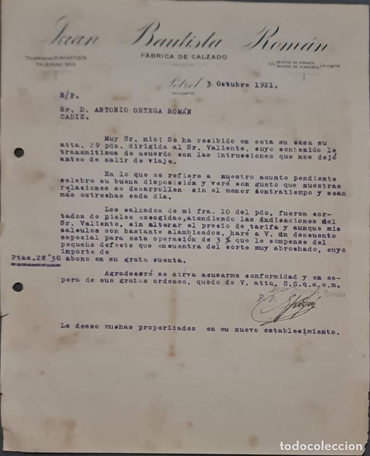 JUAN BAUTISTA ROMÁN. FÁBRICA DE CALZADO. PETREL. ALICANTE. ESPAÑA 1921 (Coleccionismo - Documentos - Cartas Comerciales)