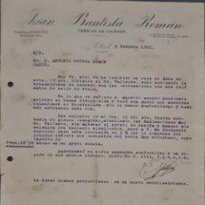 Cartas comerciales: JUAN BAUTISTA ROMÁN. FÁBRICA DE CALZADO. PETREL. ALICANTE. ESPAÑA 1921. Lote 269167913