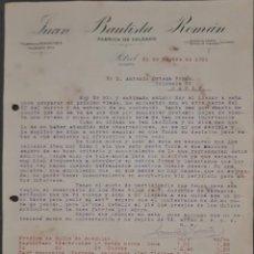 Cartas comerciales: JUAN BAUTISTA ROMÁN. FÁBRICA DE CALZADO. PETREL. ALICANTE. ESPAÑA 1921. Lote 269167953