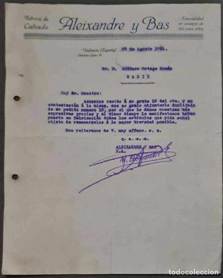 ALEIXANDRE Y BAS. FÁBRICA DE CALZADO. VALENCIA. ESPAÑA 1931 (Coleccionismo - Documentos - Cartas Comerciales)